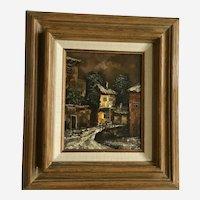 Geisal, Dark European Street Scene Oil Painting Signed by Artist