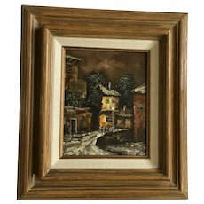 Geisal, Dark European Street Scene Oil Painting Signed by Artist