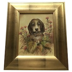 Derkys, Beagle Puppy Dog with Red Daisy Wildflowers Oil Painting Signed by Artist