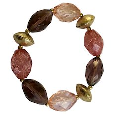 Beautiful Rose Taupe Glass & Plastic Beaded Gold-tone Stretch Band Bracelet