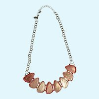 Gorgeous Large Shiny Pink Necklace Silver-Tone Plastic Beads Gold-Tone Chain