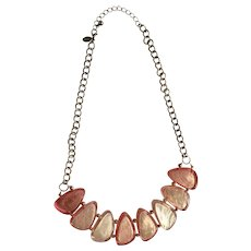 Gorgeous Large Shiny Pink Silver-Tone Plastic Beads with Gold-tone Chain Initial C Maker's Mark Necklace