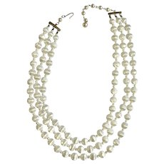 Gorgeous Pearly Snow White Plastic 3 Strand Beaded Necklace