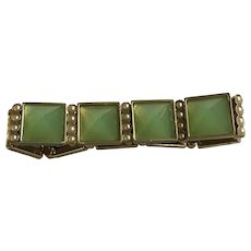 Beautiful Beaded Pyramid Faux Jade & Faux Pearl Gold-tone Stretch Band Bracelet