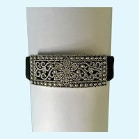 Elegant Metal Silver-tone Design Bracelet with Faux Diamonds & Black Metal Band