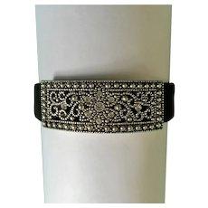 Elegant Metal Silver-tone Design Bracelet with Faux Diamonds & Black Metal Band