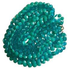 Mid-Century Aquamarine Colored Clear & Solid Plastic 4 Strand Beads