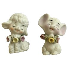 Vintage Spaghetti Trim Flowers Bisque Mouse and Lamb Anthropomorphic Figurines Made in Taiwan