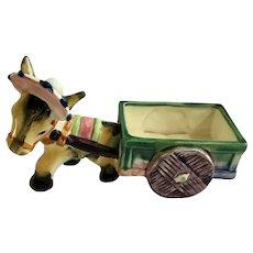 Vintage Fairyland China Porcelain Donkey Cart Figurine