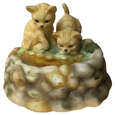Tabby Kitty Cats Playing in Goldfish Pond Music Box Vintage Enesco Kittens Playmates Porcelain Figurine