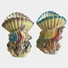 Adorable Tropical Angel Fish with Babies & Sea Shells Set of two Ceramic Vases