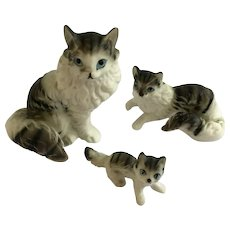 Tabby Cats Bone China Miniatures Animal Figurines