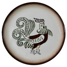"""7 Pc Chanticleer Brock Ware Rooster Dinner Plates 11-1/4"""" California Pottery Cock"""