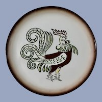 """Chanticleer Brock Ware Rooster Dinner Plates 11-1/4"""" California Pottery Cock 7 Pc"""