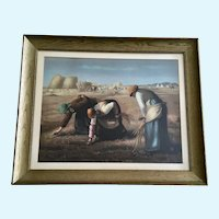 The Gleaners (Des glaneuses) Workers in a Field Old Chromolithograph