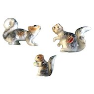 Bone China Miniatures Squirrel Grey Family Figurines Made in Japan