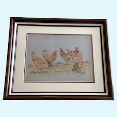 DeLand, Hen Party Chickens Original Pastel Drawing Signed by Artist