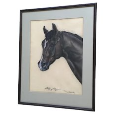Lillian Behring, Portrait of a Horse Flying Marina 19th Century Oil Pastel Painting Signed by Artist