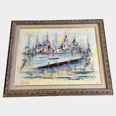 Georges Genele, Crew Rowing in Harbor Scene 1960's Signed by French Artist