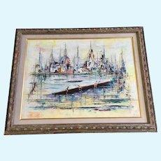Georges Genele, Crew Rowing in Harbor Scene 1960's Oil Painting