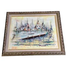 Georges Genele, Crew Rowing in Harbor Scene 1960's Signed by Paris French Artist