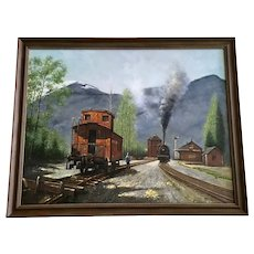 Train Stop in the Mountains Oil Painting on Canvas Very Large