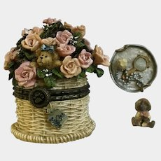 Mother's Day Boyds Bear and Friends Treasure Trinket Box #82527 Pinkie's Flower Basket with Rose Nibble Retired 2002