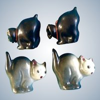 Black Scaredy Cat Halloween Salt and Pepper Shakers Vintage Arched Backs Made in Japan 1950's S&P Figurines