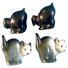 Salt & Pepper Cat Vintage Halloween Scaredy Cat Arched Backs Shakers Made in Japan 1950's S&P