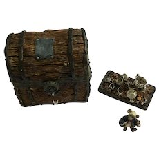 Boyds Bear and Friends Treasure Trinket Box #392103 Indy's Treasure Chest With Pirate McNibble Retired 2000