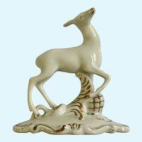 Vintage Royal Dux Bohemia White and Gold Deer Porcelain Reindeer Figurine Czechoslovakia