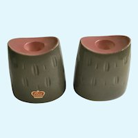 Vintage Royal Windsor Gray and Pink Candlesticks Porcelain USA Pottery