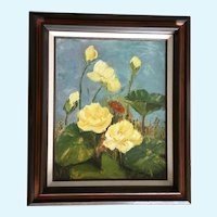 Martha LeBrock, Yellow Water-Lily Plein Air Oil Painting Signed by Artist