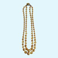 1930's Circa Golden Faux Pearl and Glass Beaded Necklace Japan