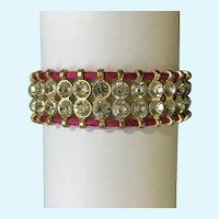 Beautiful Hot Pink and Faux Diamond Rhinestone Bracelet Easily Adjustable Size
