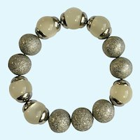 "Glittering Silver-tone and Off White Beaded Bracelet 7"" Wrist"