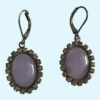 Dangling Teardrop Heather Colored Purple Glass Stones Surrounded by Rhinestones Pierced Earrings
