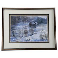 German Farmhouse in Snow Covered Landscape Watercolor Painting and Pen and Ink Mixed Media Signed by Artist 1984