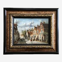 Colonial Town Street Scene Landscape Oil Painting Signed Sandy