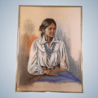 K. Egbert, Original Pastel Drawing Works on Paper, Signed by Artist, Indian Woman Wearing Turquoise Jewelry