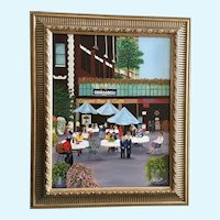 Judy Lewis, Urban Cityscape Coffee Shop Ghirardelli Chocolates Oil Painting
