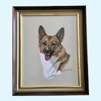 Robert C. Hickey (1914-2007) Pembroke Welsh Corgi Dog Portrait Pastel Painting