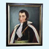 18th Century Naive Portrait of a Gentleman Oil Painting on Canvas