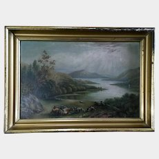 19th Century Hudson River School Pastural Oil Painting on Academy Art Board