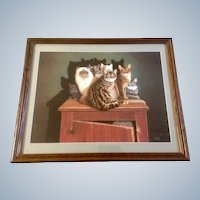 Braldt Bralds, Cats on a Cabinet Titled, Cabinet Meeting, Signed by artist and numbered, Braldt Bralds 1522/2000 Limited Edition Lithograph.