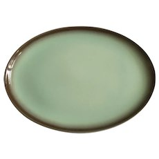 "Vintage Taylor Smith Taylor TST103 Very Rare 13-1/2"" Serving Plate TS&T Versatile, Brown Edge Light Mint Green Center"