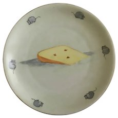 Vintage Cheese and Mouse Plate Mice Around Edge Hand Painted Porcelain Signed by Artist B Greer