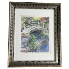 Jane Anderson Foot Bridge Over Creek Watercolor Painting Signed by Artist
