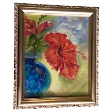 Saclich, Red Hibiscus Still Life Oil Painting Signed by Artist