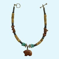 """Goldstone Native American Bear Bracelet with Natural Stone Beads 8-1/2"""""""